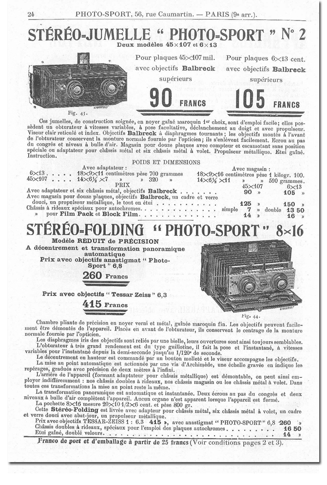 Photo-Sport Stéréo-Folding 8 x 16
