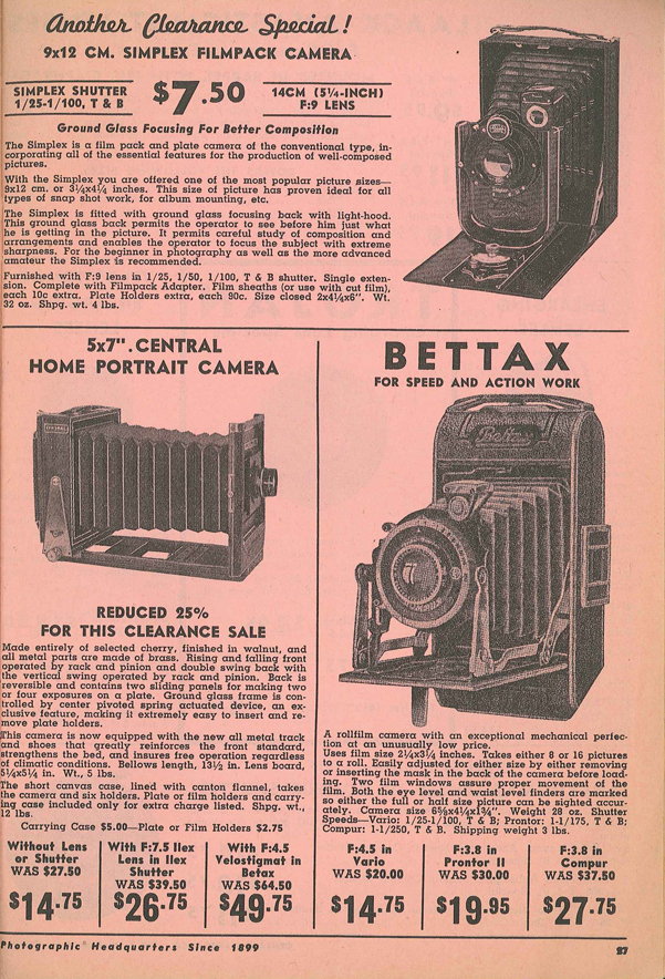 Professional Camera Mfg Co Home Portrait Camera